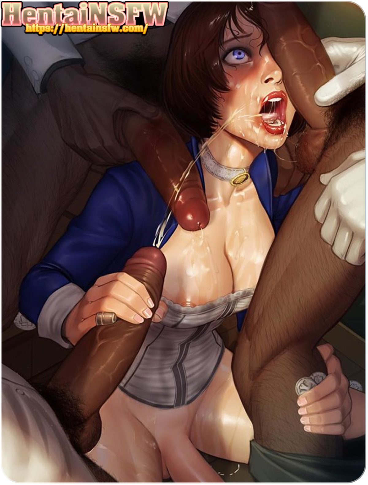 NSFW xxx illustration of futanari hentai monster cock gang fucking art.