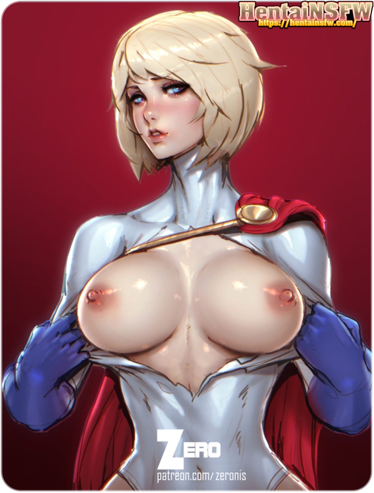 Full color uncensored ecchi oppai hentai art of DC comics busty Power Girl with her big tits out.