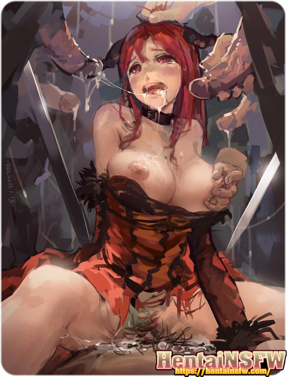 NSFW uncensored full color oppai hentai art of big tits babe gang banged in cartoon porn sex illustration.