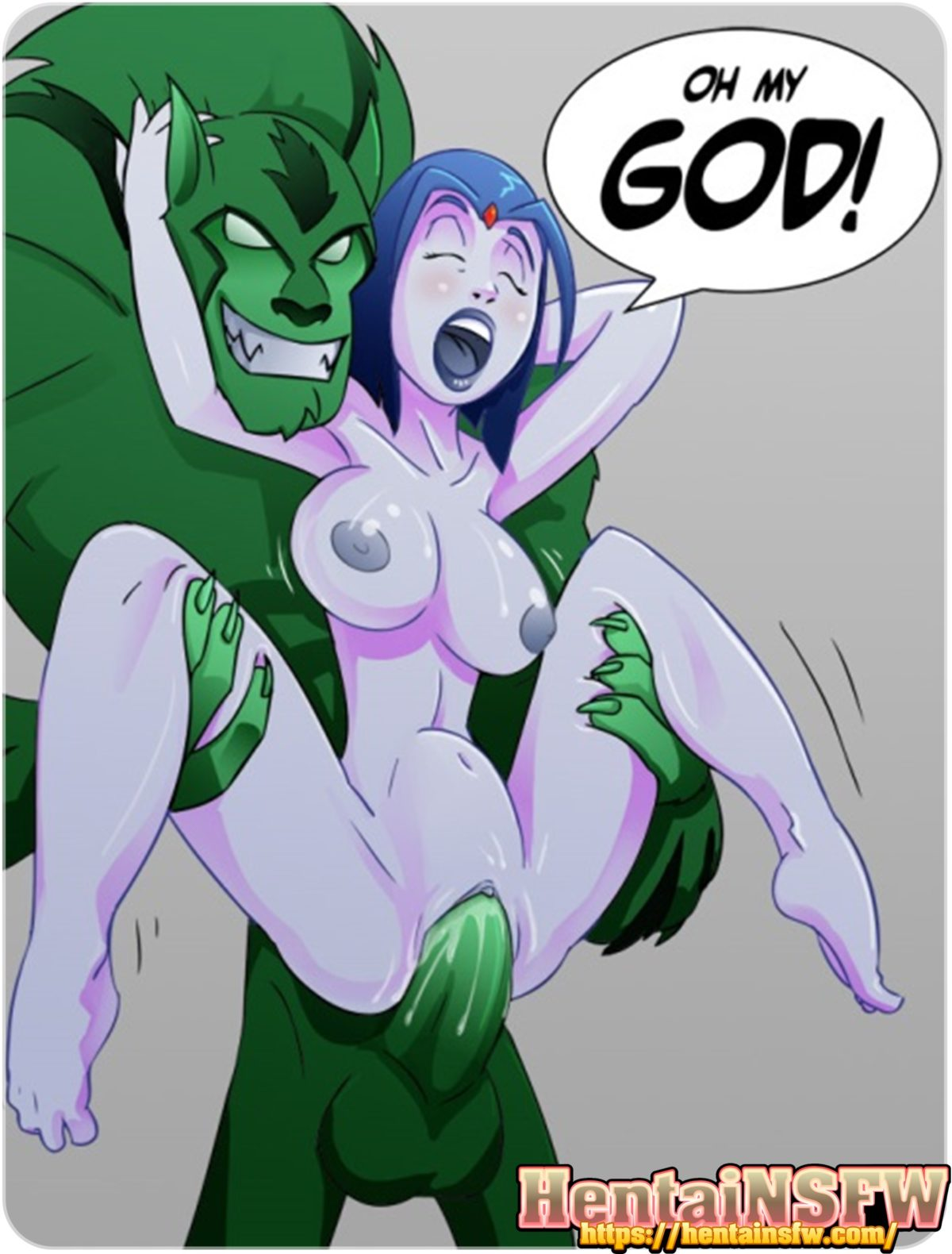 NSFW uncensored Teen Titans cartoon porn art of oppai hentai Raven on Beast Boy's monster cock sex illustration.
