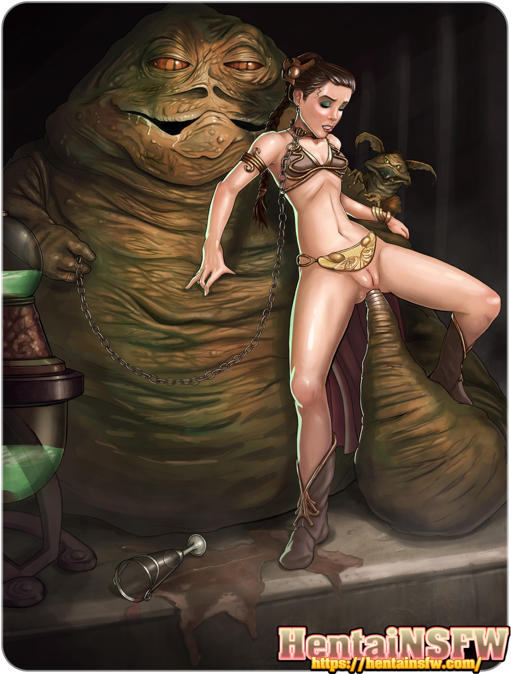 Nsfw Uncensored Sci Fi Star Wars Hentai Porn Art Of Jabba The Hut Fucking Princess Leia Up The Ass In Xxx Parody Hentai Nsfw